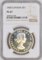 :1960 S1$ DOLLAR ELIZABETH-II CANADA KM#54 LOW-POP RARE NGC PL-67 HIGHEST-GRADES