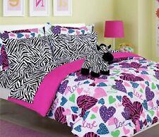 Twin Size Girls Kids Bedding-Misty Zebra Tween Teen Dream Bed In A Bag. Comforte