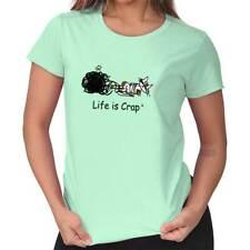 Life is Crap Kitty Yarn Funny Shirt Cool Gift Idea Cute Cat Ladies Tee Shirt T