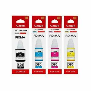 Genuine Canon GI-590 Pixma CMYK Set Ink Bottles for G1500 G1510 G2500 G3510 Lot