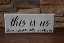 Mini wood block sign, personalized, this is us, great for camper decor or desk