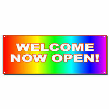 Welcome Now Open Rainbow New Business Vinyl Banner Sign W/ Grommets 2 ft x 4 ft