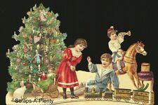 German Embossed Scrap Die Cut - Large Christmas Tree, Children, Toy Train BK5180
