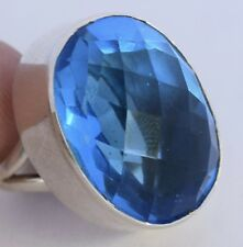Sterling Silver Blue Faceted Stone Vintage Chunky Shiny Unusual Large Fine Ring