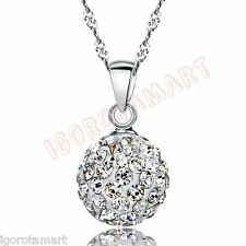 SET Jewelry Silver Austrian Crystal Pave Disco Ball Back Earrings Necklace 2017