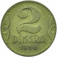 COIN / SERBIA / 2 DINAR 1938 COLLECTIBLE      #WT25248