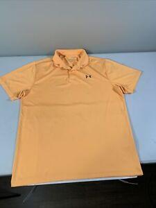 Men's Under Armour Short Sleeve Playoff Polo Shirt Size XL Orange