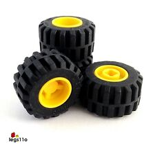 LEGO Tyre 21mm x 12mm & Rim (Pack of 4) NEW 87697 / 6014 Black / Yellow