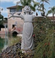 Girl Statue With Birds Large Garden Sculpture Figurine Yard Lawn Ornament GIFT