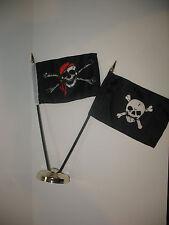 "Jolly Roger Red Hat Pirate w/ Skull and Crossbones Flag 4""x6"" Desk Set Gold Base"