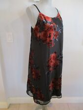 NWT LUXOLOGY SIZE 6 BLACK W/FLORAL PRINT SPAGHETTI STRAP LINED DRESS