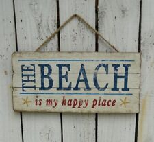 Primitive THE BEACH distressed wood sign/plaque farmhouse country home decor