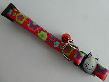 (CC004) Flower Power Red Cat Safety Collar, Breakaway Collar