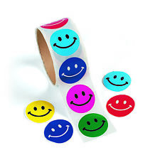 100 Colorful SMILE Happy FACE Smiley STICKERS Birthday party favors TREASURE BOX