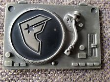 famous stars and straps record deck belt buckle, used.