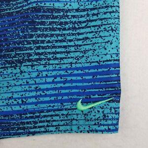 Nike Blue Striped Swimming Board Shirts Size XL 30 Boys Drawstring Polyester