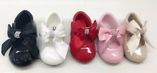 NEW GIRLS BABY KIDS WEDDING TOODLER PARTY PATENT BOW KIDS SPANISH SHOES SIZE 1-8