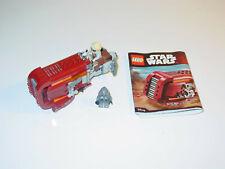 Lego 75099 Star Wars Rey's Speeder Complete Set Minifigures Manual - Used