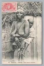 Senegalese Mother—Rare Antique PC Topless Nude Senegal STAMP Dakar CPA 1908