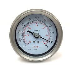 Vacuum Gauge 0-30HG 4inch 17-C01 13KR421028 Stainless Steel Housing 17C01