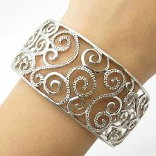 925 Sterling Silver Real Diamond Wide Openwork Cuff Bracelet 6.5""