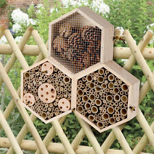 More details for large hanging insect bug bee nest hexagonal 3 section hotel wooden house shelter