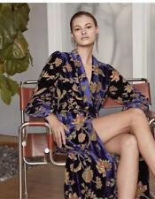 NWT BCBG MAXAZRIA Floral Velvet Burnout Wrap Dress Multi Color Size L/XL