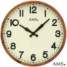 AMS 48 Wall Clock Quartz Analog Wooden Frame Solid Antique Office Ø 41 CM 500