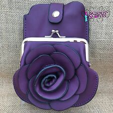 Purple Rose Purse Small bag with Phone Spectacles Holder Long & Short Straps