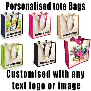 Personalised Shopping Bag Custom Printed Jute Tote Bag Canvas