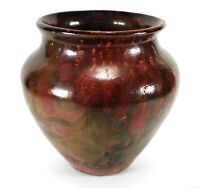GORGEOUS STUDIO ART POTTERY VASE WITH MULTICOLORED COPPER LUSTER GLAZE