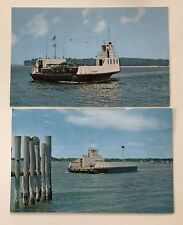 Lot of 2 Shelter Island Long Island New York SOUTH FERRY Postcard Old Cars