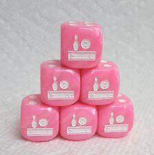 Dice - (6) *Bowling Fun*- Velvet Pink w/White Ball, Pin & Lane as #1 - 20% Off!