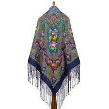 "1369-14 AUTHENTIC PAVLOVO POSAD RUSSIAN SHAWL 100% WOOL CAPE 58"" HAT SCARF 148cm"