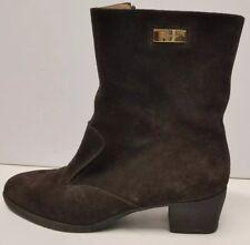 Women Salvatore Ferragamo LAPO Suede Boots 7.5 AA Brown Mustang Buc zipper