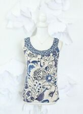 Anthropologie WESTON WEAR Floral Knit Top Womens S Blue Sleeveless Summer Casual