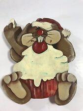 Vintage Mouse Santa Hat Wood Painted Cutout Folk Art Primitive Christmas Decor