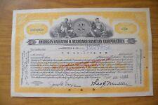 CERTIFICATO STOCK AZIONE AMERICAN RADIATOR & STANDARD SANITARY 60 SHARES 1953