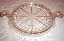 """ANCHOR HOCKING FIRE KING CRYSTAL TABLE SERVER/TRIVET WITH HANDLES 8"""" Wide"""