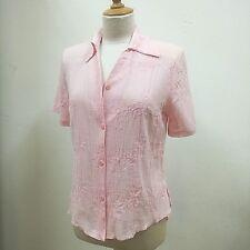 Bluse-Damen, Dream Fashion, Gr. 40, rose, Reverskragen, V-Ausschnitt, Stickerei