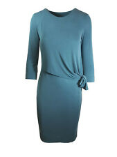 LADIES MARKS AND SPENCER TEAL KNOT SIDE MODAL BODYCON MIDI 3/4 SLEEVE DRESS M&S
