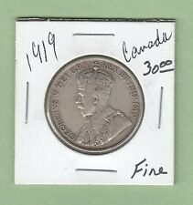 1919 Canadian 50 Cents Silver Coin - Fine