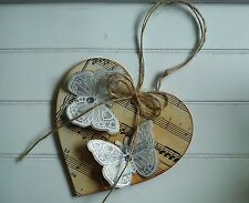 Wooden Hanging Heart Genuine Vintage Music Score  Pages & Butterflies