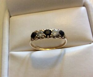 Ladies Vintage 9 Carat Gold Zirconia and Sapphire Ring ( L to L 1/2 )