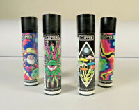 *New* 4 pcs Refillable Clipper Lighters Psychedelic Design *Free US Shipping*