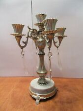 Vintage Gold Brass 5 Candlestick Marble base crystal prism drops Candle holder