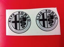 2 Adesivi Resinato Sticker 3D ALFA ROMEO 40 mm white & black