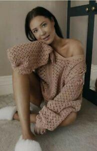 BNWT Lorna LuxeBlush Crochet Knit Bell Sleeve OversizedV-Neck Jumper Size 8 10