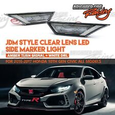 FIT 16-UP HONDA CIVIC SIDE MARKER LED TURN SIGNAL LIGHTS AMBER CLEAR LENS