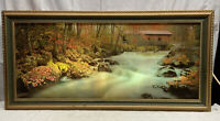 Vtg Mid-Century COVERED BRIDGE WATERFALL Bird Water SOUNDS Over Couch Picture